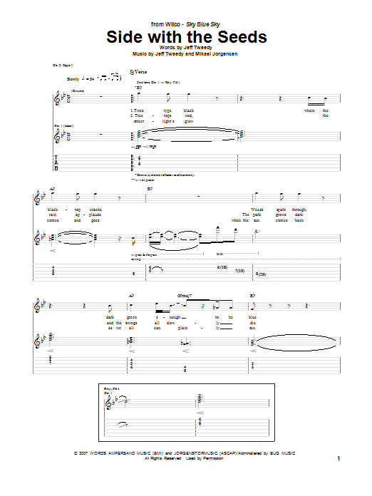 Tablature guitare Side With The Seeds de Wilco - Tablature Guitare