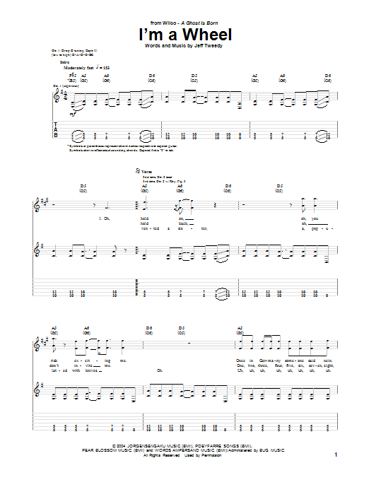 Tablature guitare I'm A Wheel de Wilco - Tablature Guitare