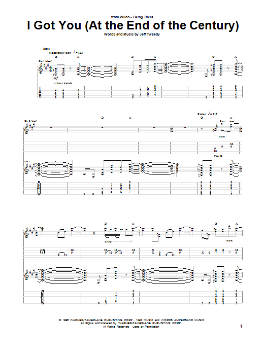 Tablature guitare I Got You (At The End Of The Century) de Wilco - Tablature Guitare