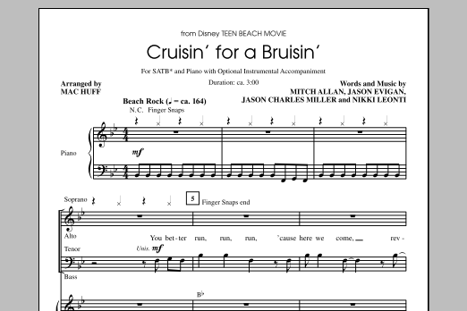 Cruisin' For A Bruisin' (from Teen Beach Movie) (arr. Mac Huff) Sheet Music