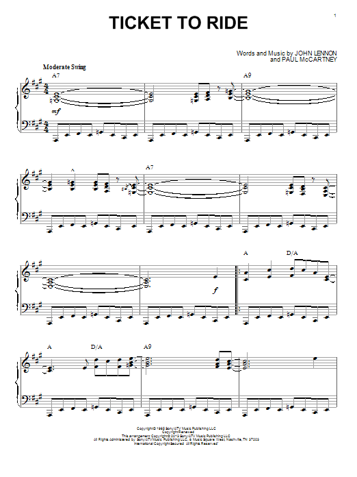 Partition piano Ticket To Ride de The Beatles - Piano Solo