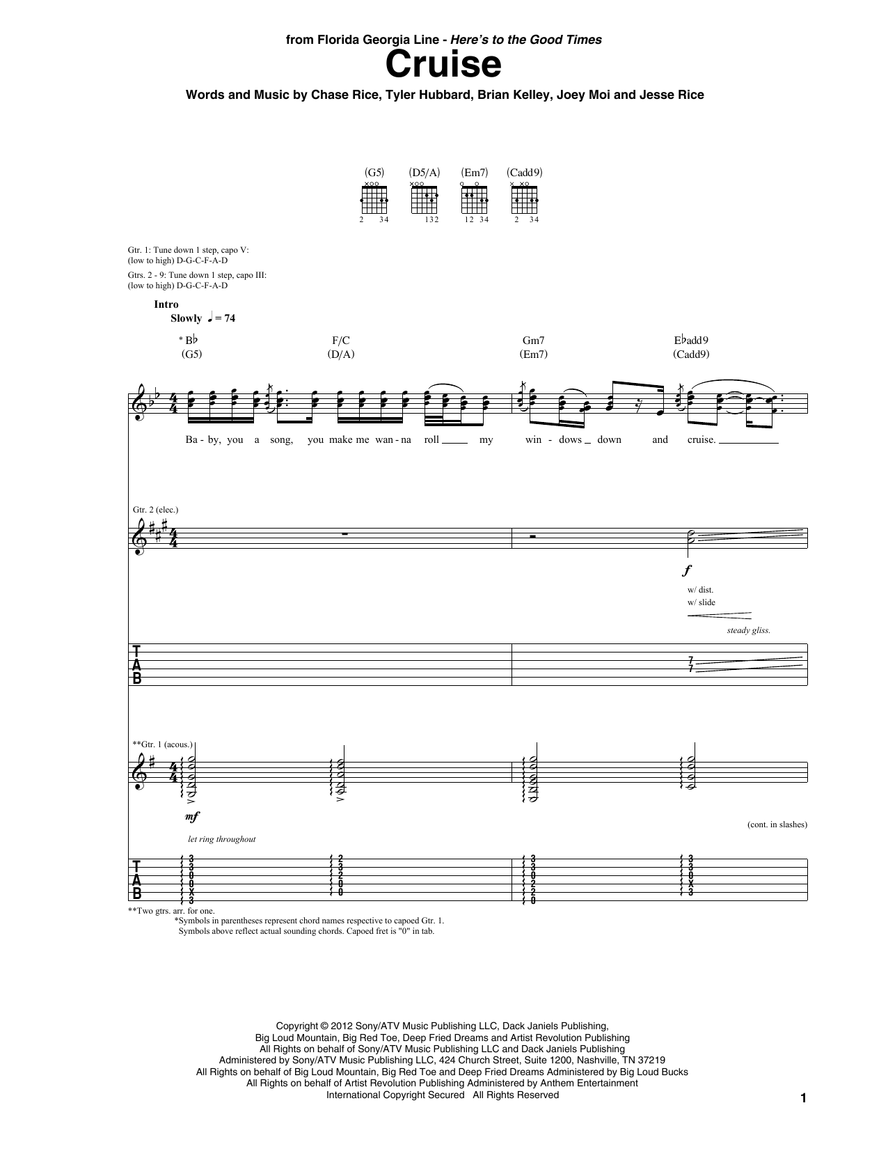Cruise Sheet Music