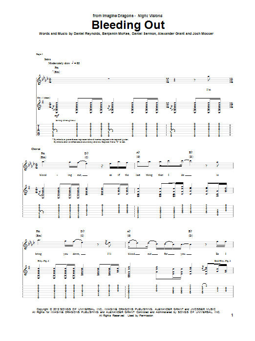 Bleeding Out Guitar Tab by Imagine Dragons (Guitar Tab ...