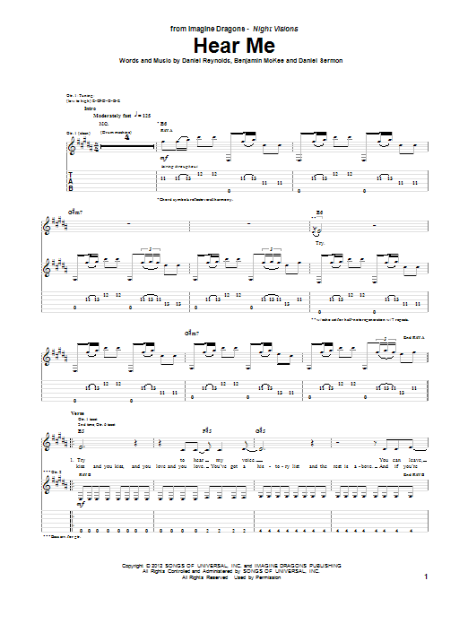 Hear Me (Guitar Tab)