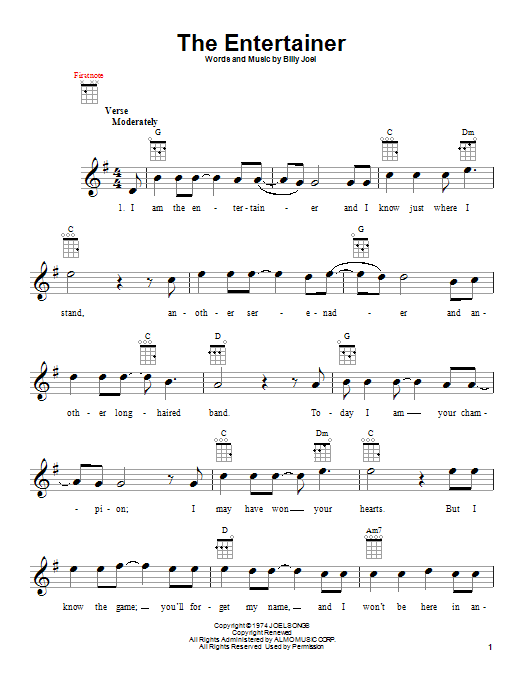 Tablature guitare The Entertainer de Billy Joel - Ukulele