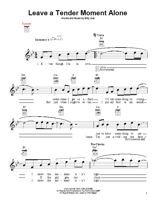 Tablature guitare Leave A Tender Moment Alone de Billy Joel - Ukulele