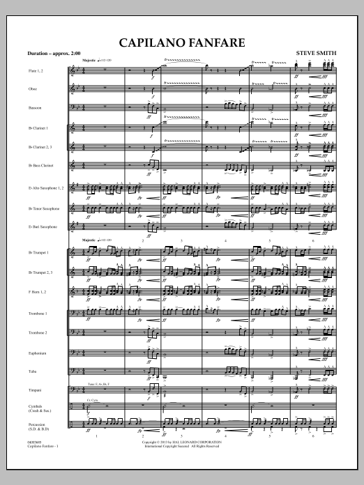 Capilano Fanfare (Digital Only) (COMPLETE) sheet music for concert band by Steve Smith. Score Image Preview.