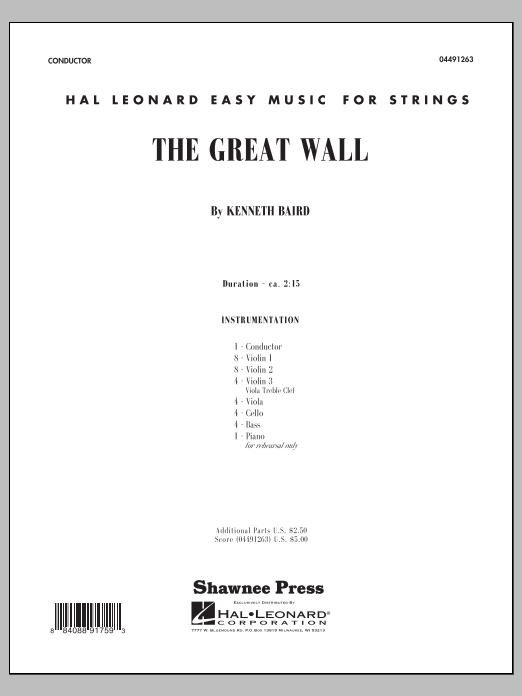 The Great Wall (COMPLETE) sheet music for orchestra by Kenneth Baird. Score Image Preview.