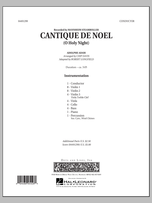 Cantique de Noel (O Holy Night) (COMPLETE) sheet music for orchestra by Robert Longfield, Chip Davis and Mannheim Steamroller. Score Image Preview.