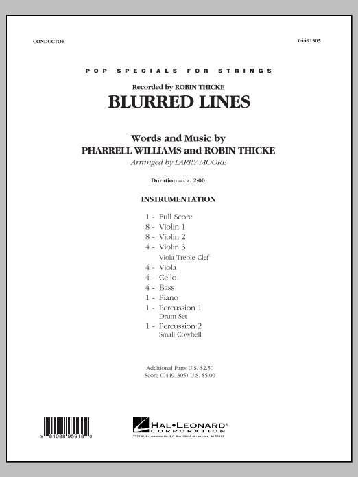 Blurred Lines (COMPLETE) sheet music for orchestra by Larry Moore and Robin Thicke. Score Image Preview.