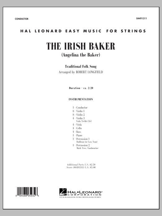 The Irish Baker (Angelina the Baker) (COMPLETE) sheet music for orchestra by Robert Longfield. Score Image Preview.