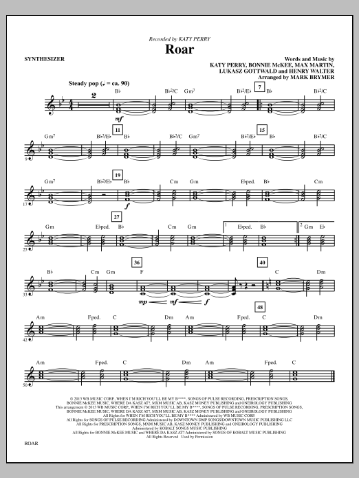 Roar (complete set of parts) sheet music for orchestra/band by Mark Brymer and Katy Perry. Score Image Preview.