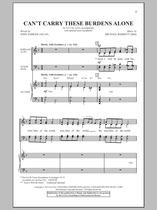 Can't Carry These Burdens Alone Sheet Music