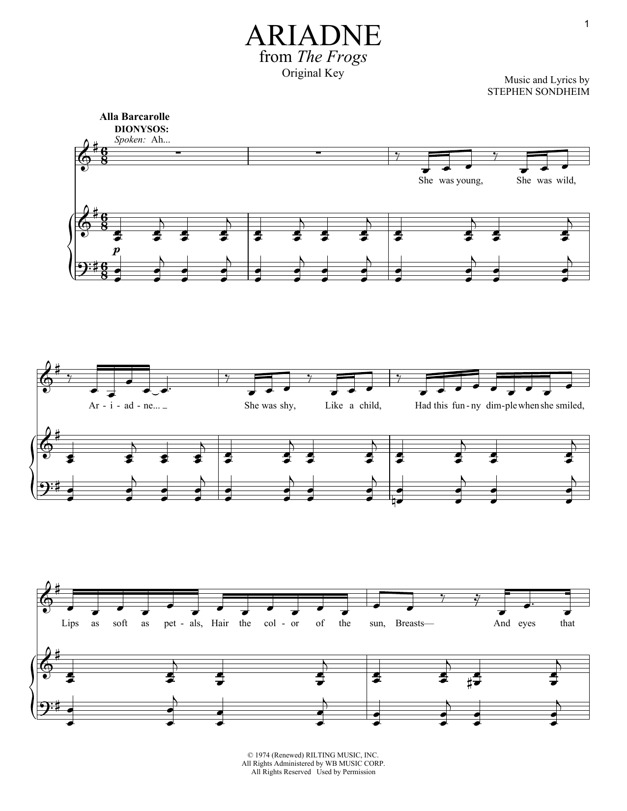 Ariadne Sheet Music