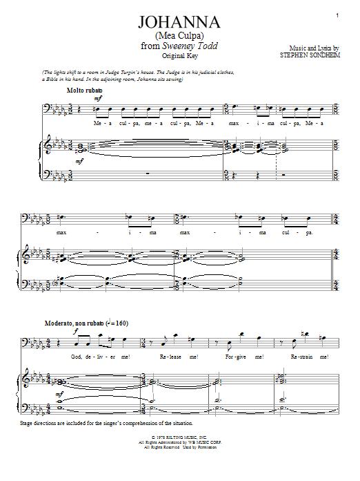 Partition piano Johanna (Judge's Version) de Stephen Sondheim - Piano Voix