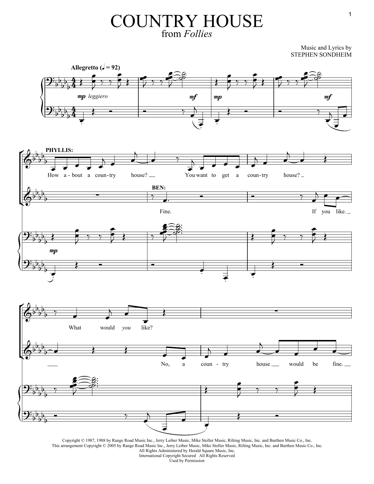 Country House (1987) Sheet Music