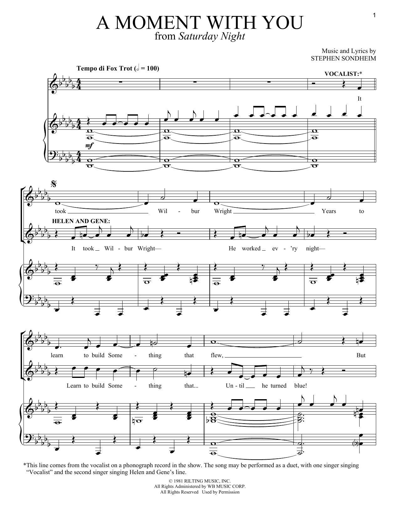 A Moment With You Sheet Music