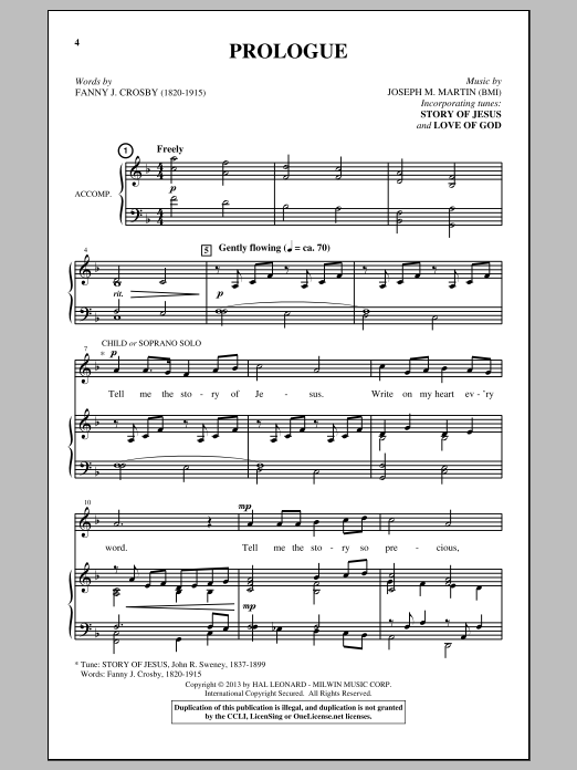 Partition chorale Prologue de Joseph M. Martin - SATB