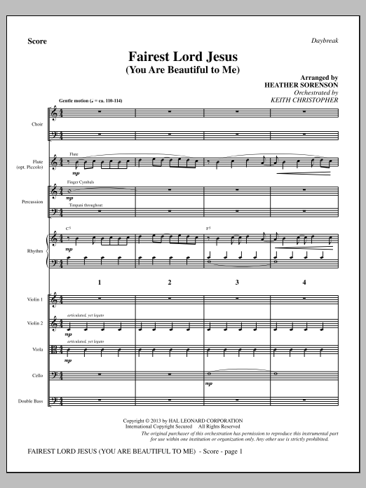 Fairest Lord Jesus (You Are Beautiful to Me) (COMPLETE) sheet music for orchestra/band by Heather Sorenson. Score Image Preview.