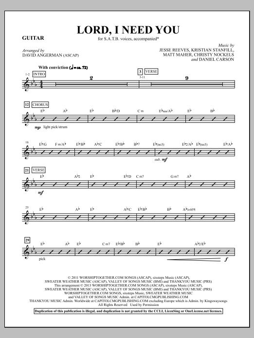 Lord, I Need You - Guitar (Choir Instrumental Pak)