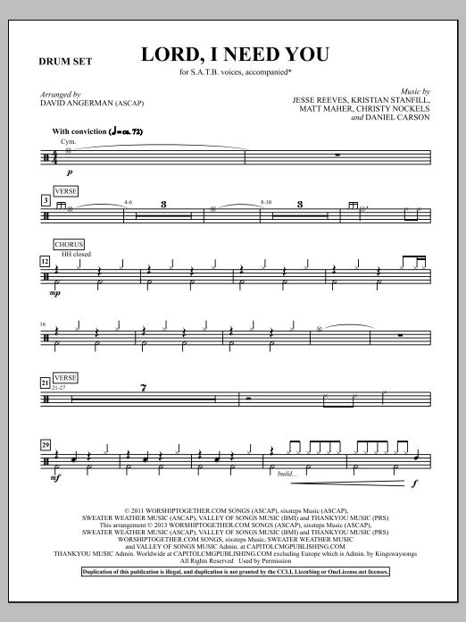 Lord, I Need You - Drum Set (Choir Instrumental Pak)