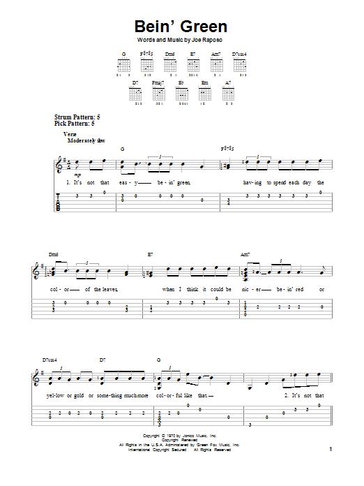Bein' Green (Easy Guitar Tab)