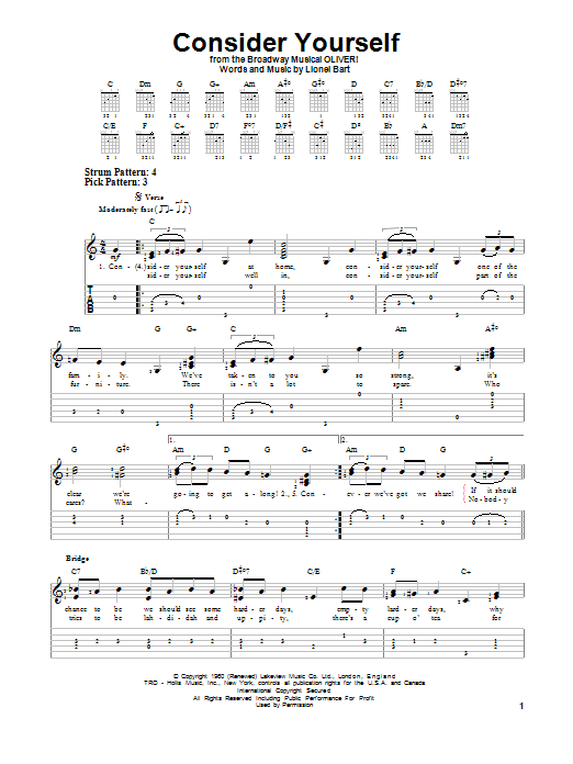 Consider Yourself by Lionel Bart - Easy Guitar Tab - Guitar Instructor