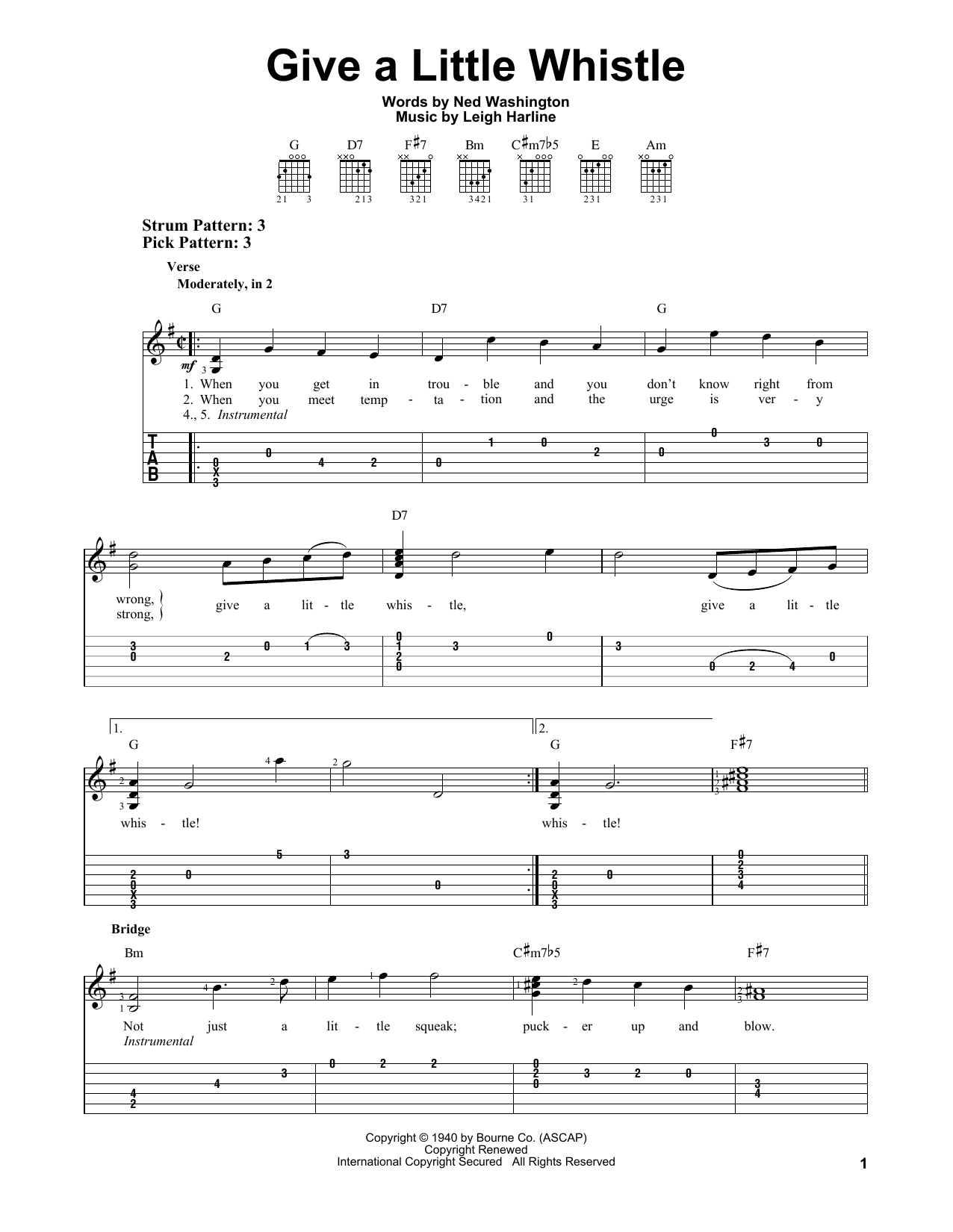 Give A Little Whistle Sheet Music