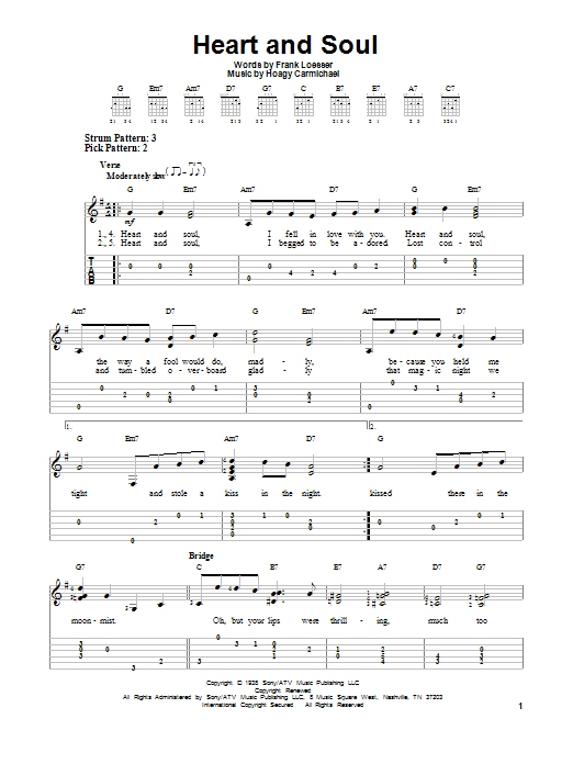 Heart And Soul by Hoagy Carmichael - Easy Guitar Tab - Guitar Instructor