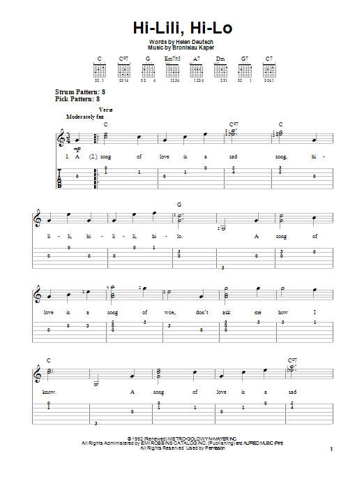 Hi-Lili, Hi-Lo Sheet Music