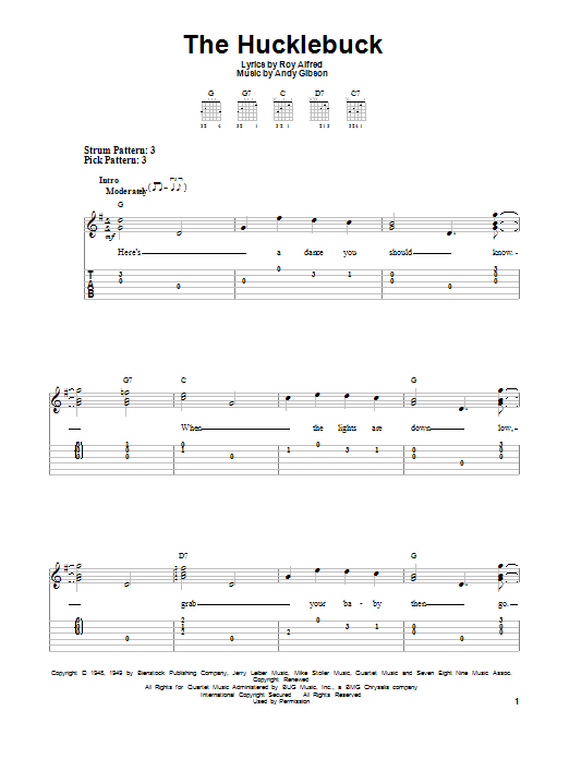 Tablature guitare The Hucklebuck de Andy Gibson - Tablature guitare facile