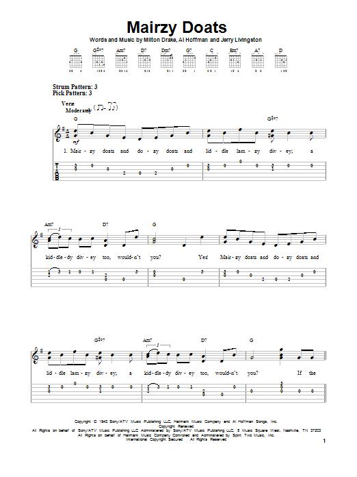 Tablature guitare Mairzy Doats de Milton Drake - Tablature guitare facile