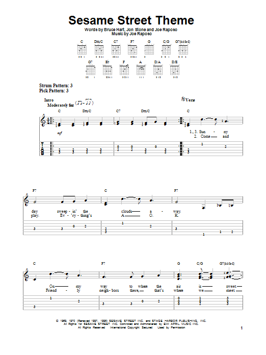 Tablature guitare Sesame Street Theme de Jon Stone - Tablature guitare facile