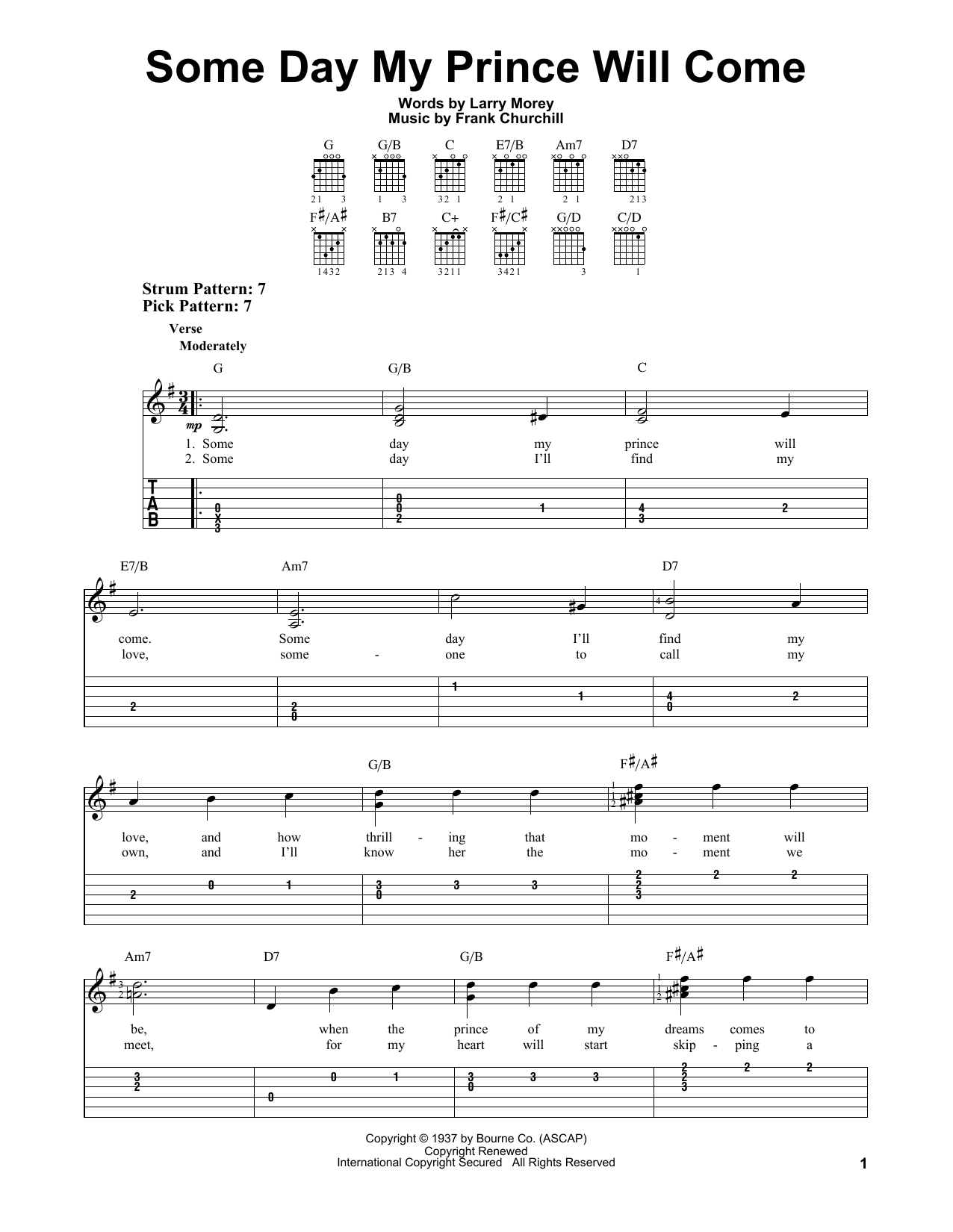 Some Day My Prince Will Come (Easy Guitar Tab)