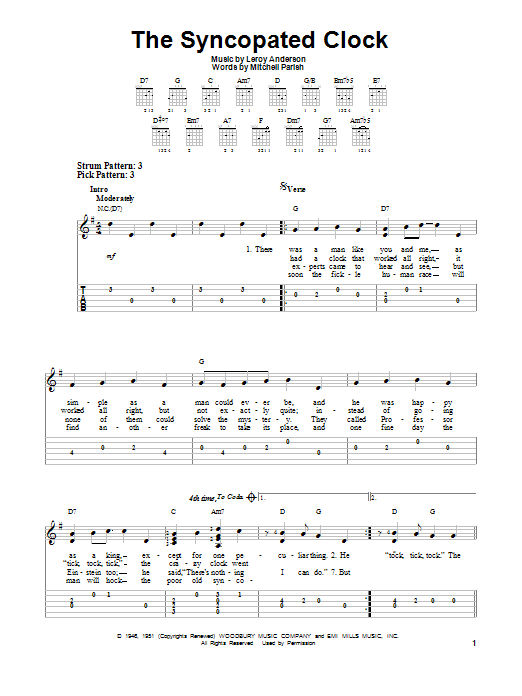 Tablature guitare The Syncopated Clock de Leroy Anderson - Tablature guitare facile