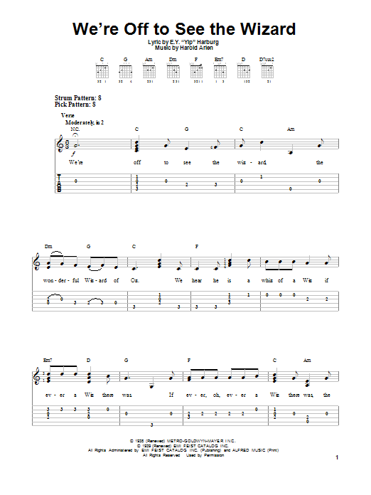 We're Off To See The Wizard (Easy Guitar Tab)