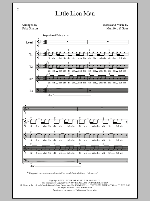 Little Lion Man (arr. Deke Sharon) Sheet Music