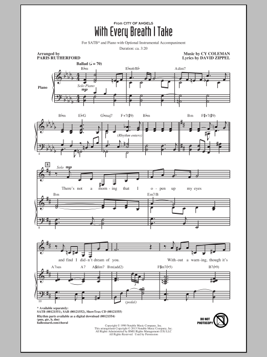 Partition chorale With Every Breath I Take de Cy Coleman - SATB