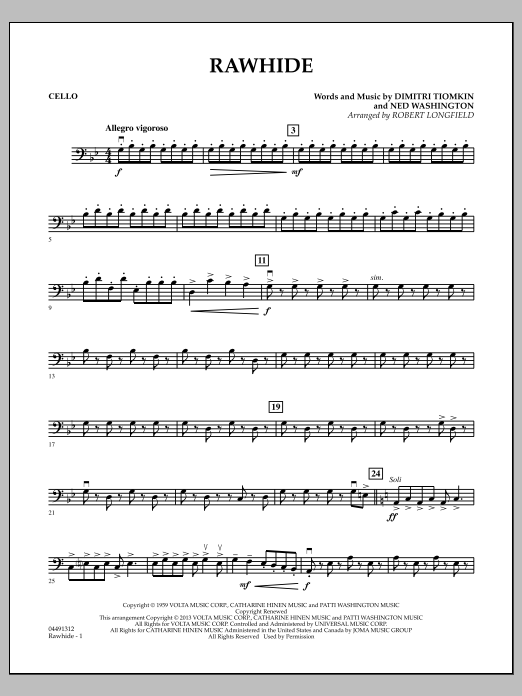 Rawhide - Cello (Orchestra)
