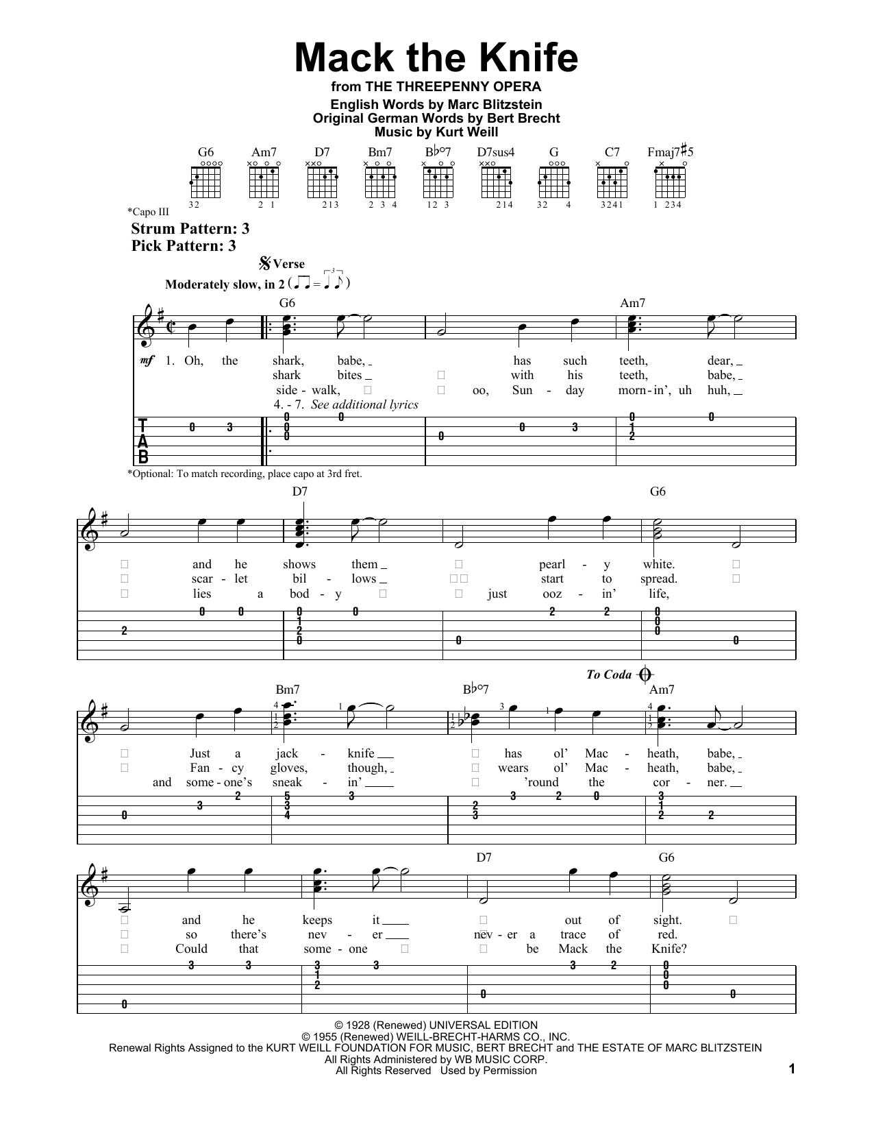 Mack The Knife Sheet Music