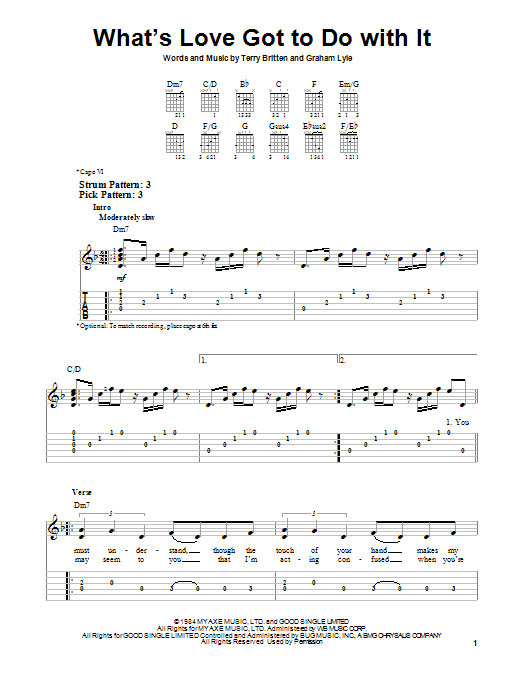 Tablature guitare What's Love Got To Do With It de Tina Turner - Tablature guitare facile