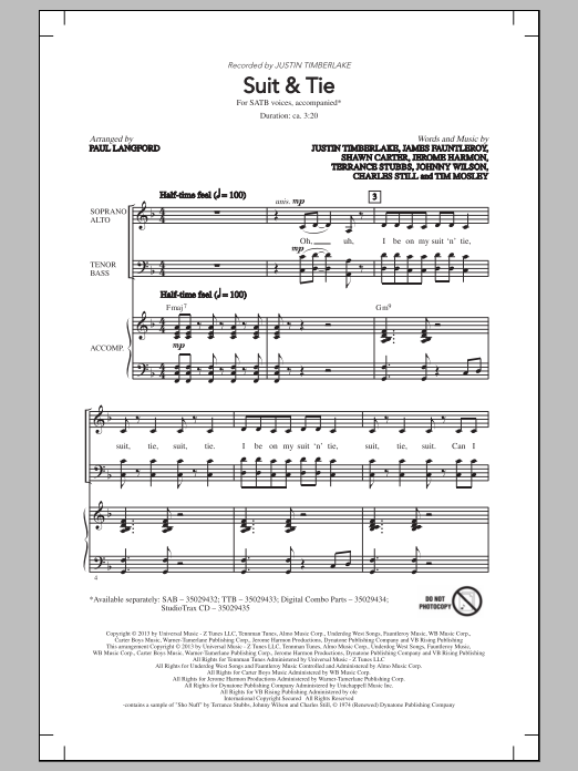 Suit & Tie (arr. Paul Langford) Sheet Music