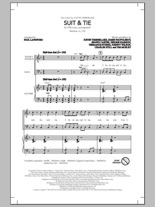 Suit & Tie (arr. Paul Langford) Sheet Music
