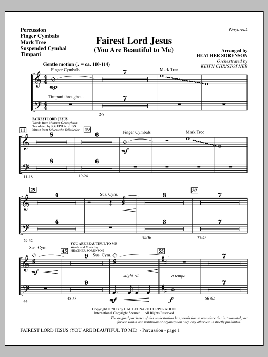 Fairest Lord Jesus (You Are Beautiful to Me) - Percussion (Choir Instrumental Pak)