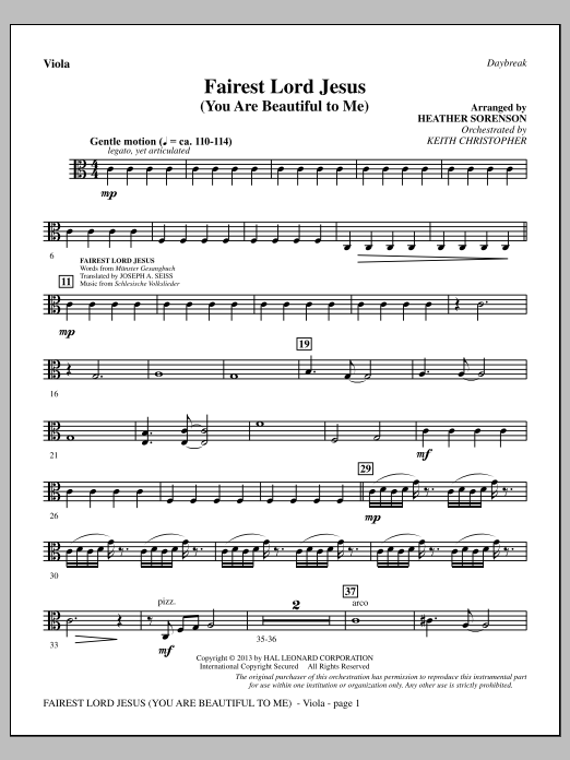 Fairest Lord Jesus (You Are Beautiful to Me) - Viola (Choir Instrumental Pak)
