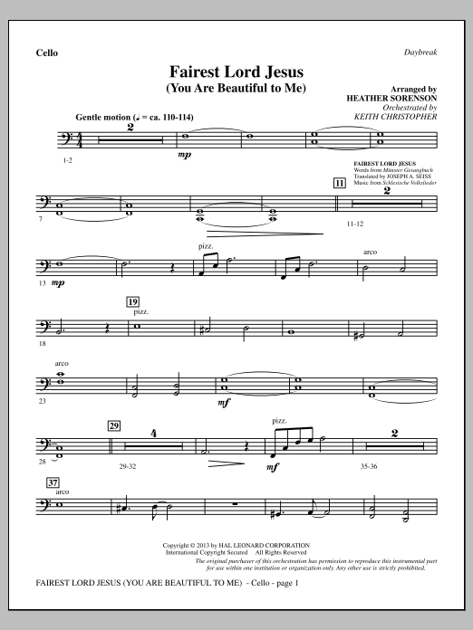 Fairest Lord Jesus (You Are Beautiful to Me) - Cello (Choir Instrumental Pak)
