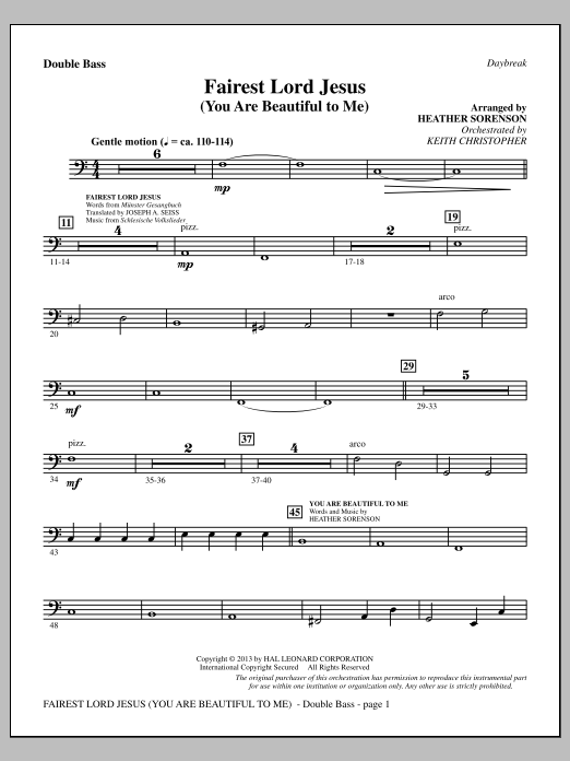Fairest Lord Jesus (You Are Beautiful to Me) - Double Bass (Choir Instrumental Pak)