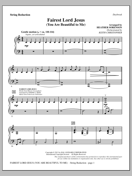 Fairest Lord Jesus (You Are Beautiful to Me) - Keyboard String Reduction (Choir Instrumental Pak)