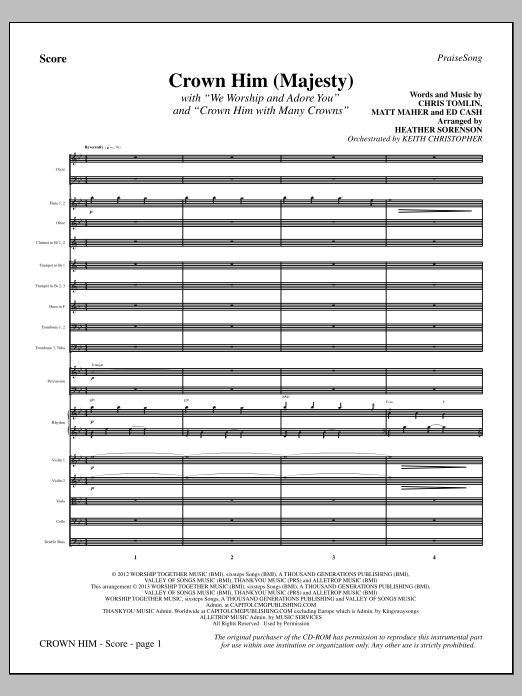 Crown Him (Majesty) (COMPLETE) sheet music for orchestra/band by Heather Sorenson and Chris Tomlin. Score Image Preview.