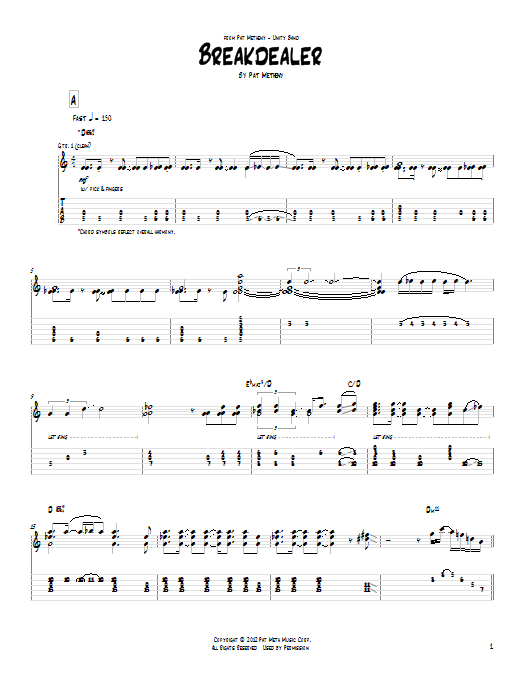 Tablature guitare Breakdealer de Pat Metheny - Tablature Guitare